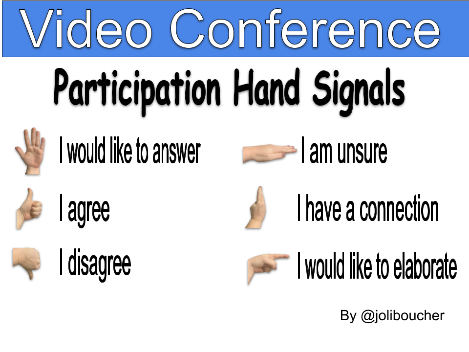 Video Conference online hand signals
